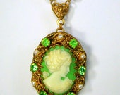 Green Cameo Necklace, Pearls, Gold & Green Rhinestones Pendant on Filigree link Chain, Recycled 1930s- 60s,  Traditional Elegant Necklace