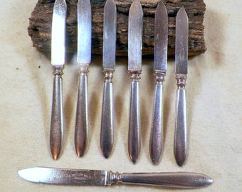 Antique Set (7) 1847 Rogers Bros Warranted Triple Silverplate Fruit/Cheese Knives, Windsor Pattern, Good, Flatware