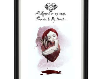Love Quote Art Print - Heart Quote - Text Print - Wall Decor - Text Art Print - A moment in my arms, forever in my heart