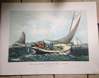 1968 Currier and Ives Trolling for Blue Fish Antique Illustration
