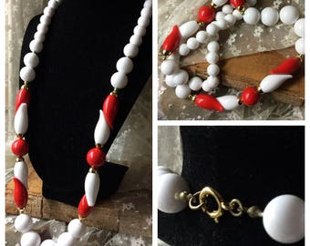 Sophisticated Long Red White Lucite Bead Necklace Unsigned Monet Napier Style 1970's 1980's Round Odd Shaped Beads Day Career Wear