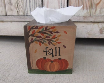 Primitive Fall Pumpkins with Autumn Leaves Tree Hand Painted Tissue Box Cover GCC6769