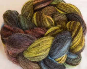 Hand dyed fibre, Corriedale, Humbug, combed top, Fibre, tops, hand dyed roving, Humbug Corriedale, felting projects, handspinning,