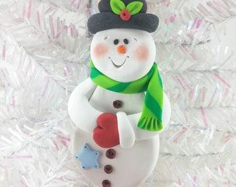 Handmade Polymer Clay Snowman Christmas Ornament -847