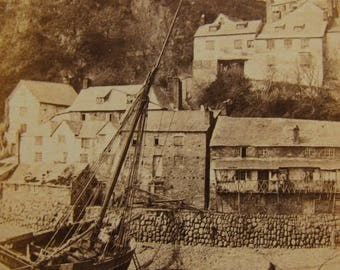 antique sepia photograph - Clovelly village, Devon by Archibald Cock - 19th century fishing village - vintage seaside photo