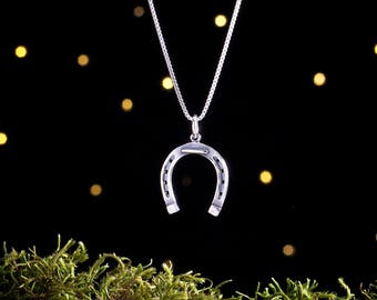 Sterling Silver Lucky Horseshoe - Cowgirl Horse Lover Gift - (Charm, Necklace, or Earrings)
