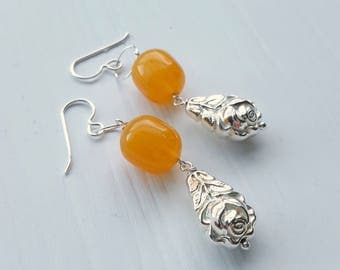 honeysuckle rose earrings - vintage beads and sterling silver chain - silver rose, amber, honey, yellow - sterling silver hooks