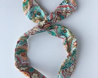 Flower Headband, Hidden wire headband, dolly bow, Hair band, head scarf, flower fabric hair clip, hair wrap, head scarf, cute headband,