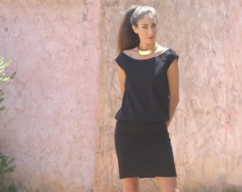 Black blouson dress  L - XL  /Mini dress/ Black dress / Summer dress/ boat neckline dress/ Shihar / sleeveless dress/ LBD