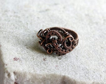 Abstract Wire Wrapped Copper Ring, Wire Wrapped Ring, Rustic, Handcrafted, Size 7US