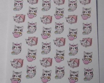 Mini Cat Stickers / Kitty Stickers / Cute Stickers / Planner Stickers