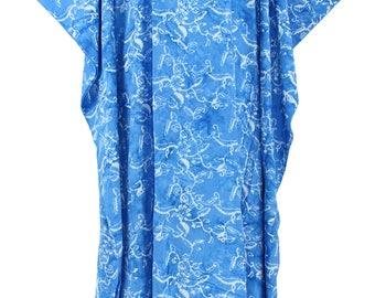 Blue Batik Caftan Kaftan Maxi Long Dress 1X 2X 3X 4X
