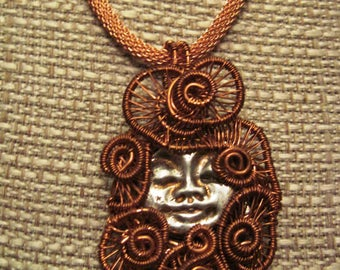 Silver and Copper Handmade Moon Face Pendant