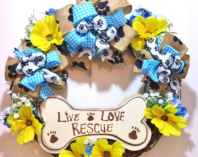 FREE SHIPPING Live Love Rescue Dogs Cats Bone - Welcome Door Wreath