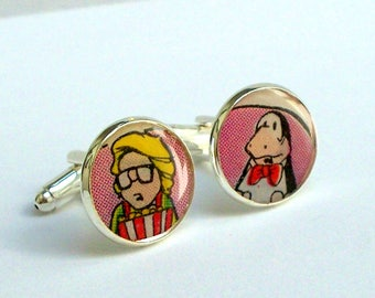 Bloom County Comic Book Gift Cufflinks, with Bloom and Opus, recycled into Silver Plated Cuff Links, comic book cufflinks