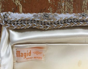 The Vintage Beige Hand Beaded Magid Clutch Purse