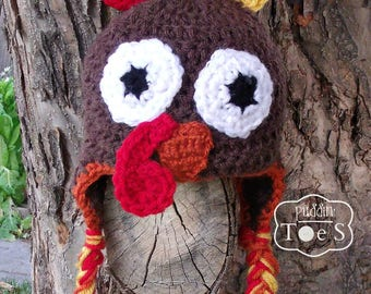 Baby Turkey Hat, Crochet Turkey Hat, Newborn Turkey Hat, First Thanksgiving Hat, Turkey Baby Hat, Turkey Beanie, Crochet Baby Hat