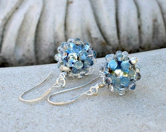Blue Bubbles Glass Earrings