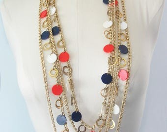 Vintage Multi Chain Necklace, Goldtone, 1970s, Red White and Blue, Box Clasp, Long Chains, Round Disks