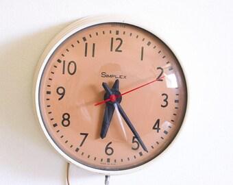 Vintage Simplex School Clock / 1960's Industrial Decor / Mid Century Hanging Clock