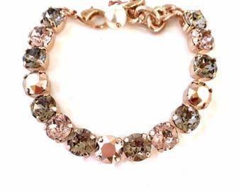 Swarovski Crystal Bracelet 39ss Neutrals in Rose Gold Tone Finish, RhinestoneTennis Bracelet, Layering Bracelets, Gifts