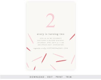 DIY Girl's Birthday Invitation | Birthday Invitation Template, Digital Download, Birthday Template, Birthday Printable, Instant Download