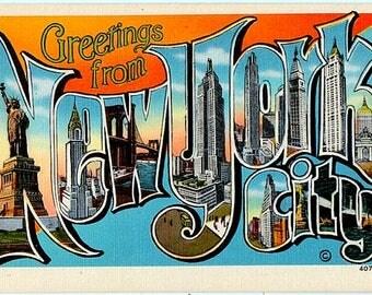 Greetings from New York City Vintage Postcard (Unused)