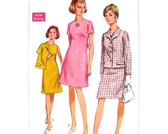 1960s Lined Jacket & Dress Pattern Simplicity 7450 Button Front Jacket Italian Collar Womens Bust 36 Vintage Sewing Pattern