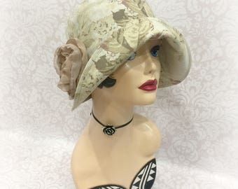 1920s Cloche Hat -Flapper Cloche  - Linen Cloche Hat - Floral Cloche Hat-  Summer Cloche - Chemo Hat - Womens Sunhats - Downton Cloche Hat