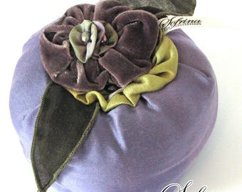 Large Flower Pincushion | Beautiful Amethyst Pin Holder with Green & Mauve Floral Details | Upcycled Materials, the Eco-Friendly Option