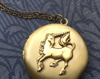 Unicorn Locket Necklace Magical Unicorn Jewelry Fantasy Pendant Unicorn Jewelry Unicorn Photo Locket Gift for Her Gift for Him Magic Unicorn