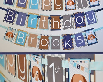 Puppy Birthday Party Banner Decorations Fully Assembled | Puppy Party | Puppy Themed Birthday | Dog Birthday Party | Blue Dog Party |