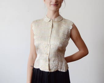 1950s Brocade Sleeveless Top - XS