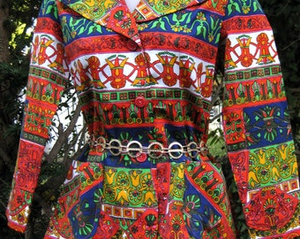 Orange Mexican Print Jacket, American made Aztec Mayan print 1960s 60s hippie jacket for a Day of the Dead party