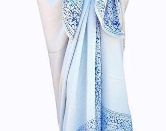White Beach Sarong Skirt or Dress ~ Womens Clothing Sarong Wrap Skirt ~ Hawaiian Beach Wedding Sarong Pareo~ White & Blue Batik Sarong Wrap