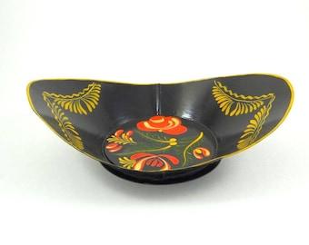 Hand Painted Toleware Metal Bowl