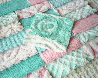 Vintage Chenille Bedspread Squares in Aqua and Pink with Flower-Sweet-21-6""