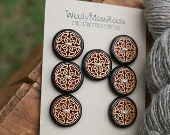 7 Celtic Knot Buttons- Cherry Wood- Wooden Buttons- Eco Craft Supplies, Eco Knitting Supplies, Eco Sewing Supplies