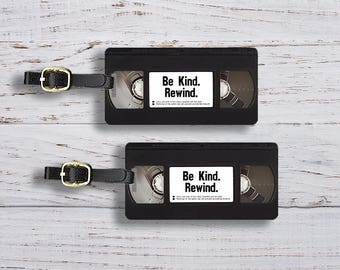 Personalized Luggage Tags Be Kind Rewind VHS Retro Tape Funny Luggage Tags - Single Tag or Set Available