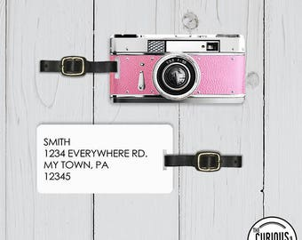 Luggage Tag Retro Camera Photographer Luggage Tag  Personalized Custom Backs - Single Tag   Pretty Princess Pink