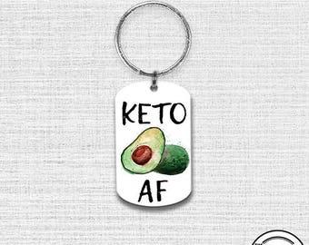 Keychain KETO AF avocado Funny Keto Diet , Key Chain Key Ring Metal dog Tag