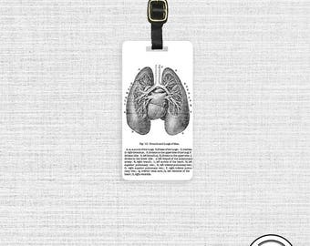 Luggage Tag Vintage Lungs Medical Chart Tag Metal Tag Personalized Single Tag