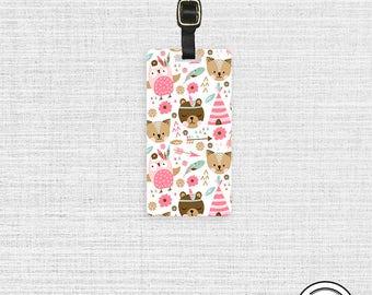 Luggage Tag Woodland Bear Fox Teepee Metal Luggage Tag  With Printed Custom Info Single Tag