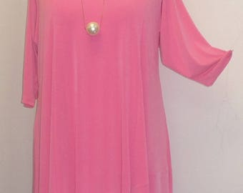 Coco and Juan, Lagenlook, Plus Size Tunic Top, Asymmetric Top, Millenniun Pink, Knit, Women's Tunic Top, Size 1 (fits 1X,2X)  Bust 50 inches