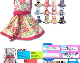 Apron for Kids, Kids apron, Personalized Girls Apron, Embroidered kids apron, child's apron, tween apron, toddler apron,
