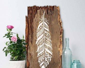 Tribal Feather Wall Art Stencil - Reusable Stencils - DIY Home Décor - Easy DIY
