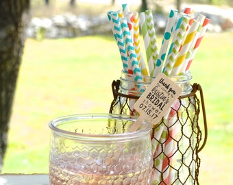 MADE IN U.S.A. Free Shipping Paper Straws - Dot and Pattern Designs - Parties - Weddings - Cocktails - Free Editable Tags Download