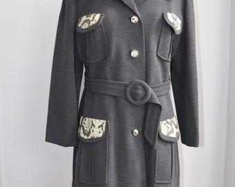 Vintage 60s 70s Grey Wool Snakeskin Leather Mod Mad Men Jacket 1960s 1970s Womens Clothing Gray Tweed
