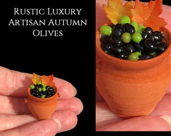 Rustic Fall Autumn Tuscan Olive Pot Display - Elisabeth Causeret pottery - Artisan Made Miniature in 12th scale. From After Dark miniatures