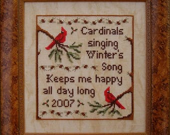 OOAK Stitched and Custom Framed Winter's Song Cross Stitch Picture